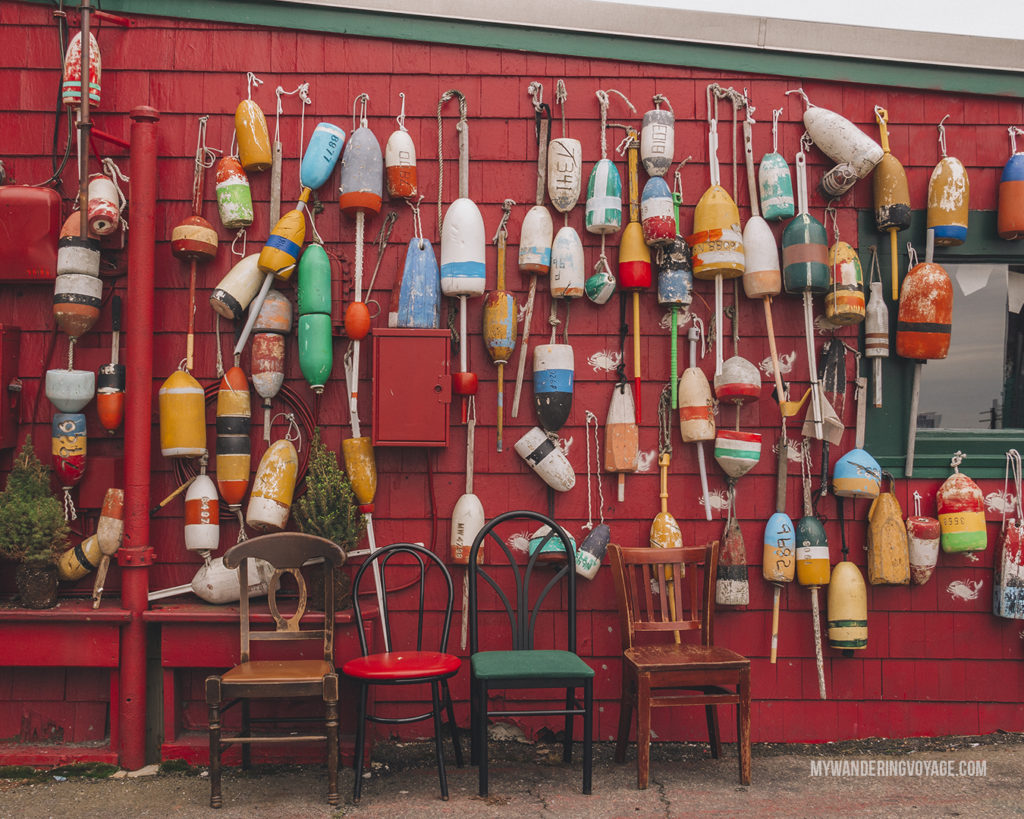 Buoys in Boston   This New England road trip itinerary will take you on the scenic route from Boston to Portland, Mid Coast Maine and Acadia National Park.   My Wandering Voyage #Boston #Portland #Maine #travel