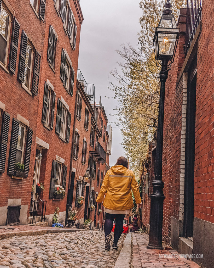 Beautiful Acorn Street, Beacon Hill, Boston   This New England road trip itinerary will take you on the scenic route from Boston to Portland, Mid Coast Maine and Acadia National Park.   My Wandering Voyage #Boston #Portland #Maine #travel