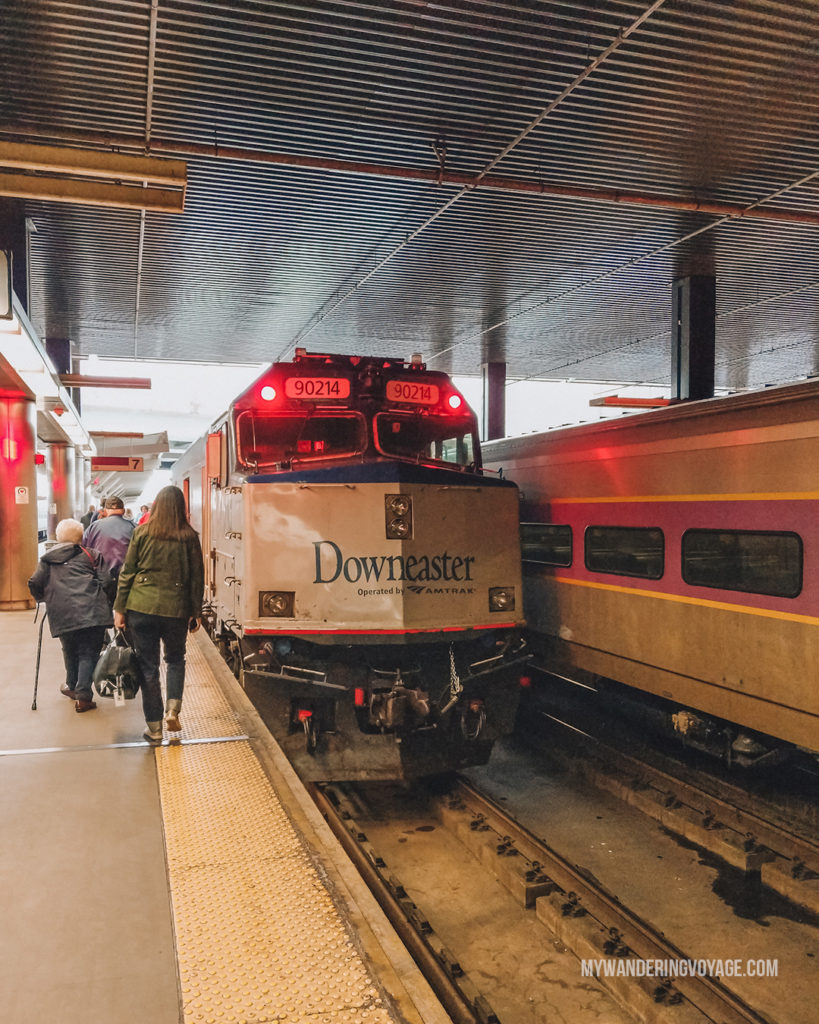 Amtrack Downeaster   This New England road trip itinerary will take you on the scenic route from Boston to Portland, Mid Coast Maine and Acadia National Park.   My Wandering Voyage #Boston #Portland #Maine #travel