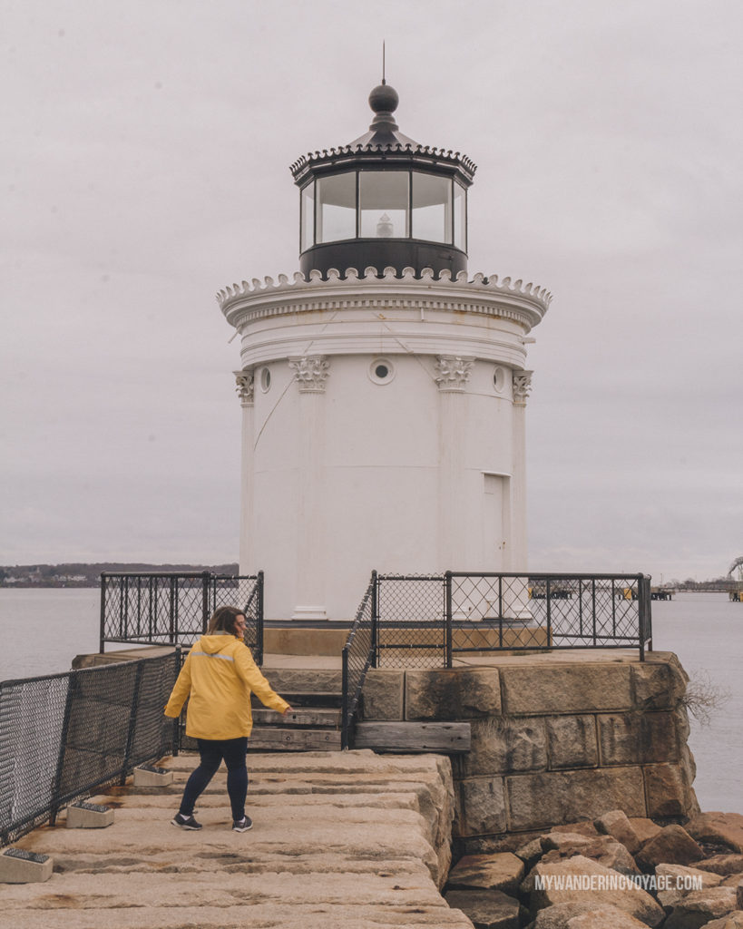 Bug Light, Portland   This New England road trip itinerary will take you on the scenic route from Boston to Portland, Mid Coast Maine and Acadia National Park.   My Wandering Voyage #Boston #Portland #Maine #travel