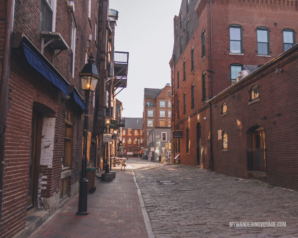 Portland Old Port   This New England road trip itinerary will take you on the scenic route from Boston to Portland, Mid Coast Maine and Acadia National Park.   My Wandering Voyage #Boston #Portland #Maine #travel