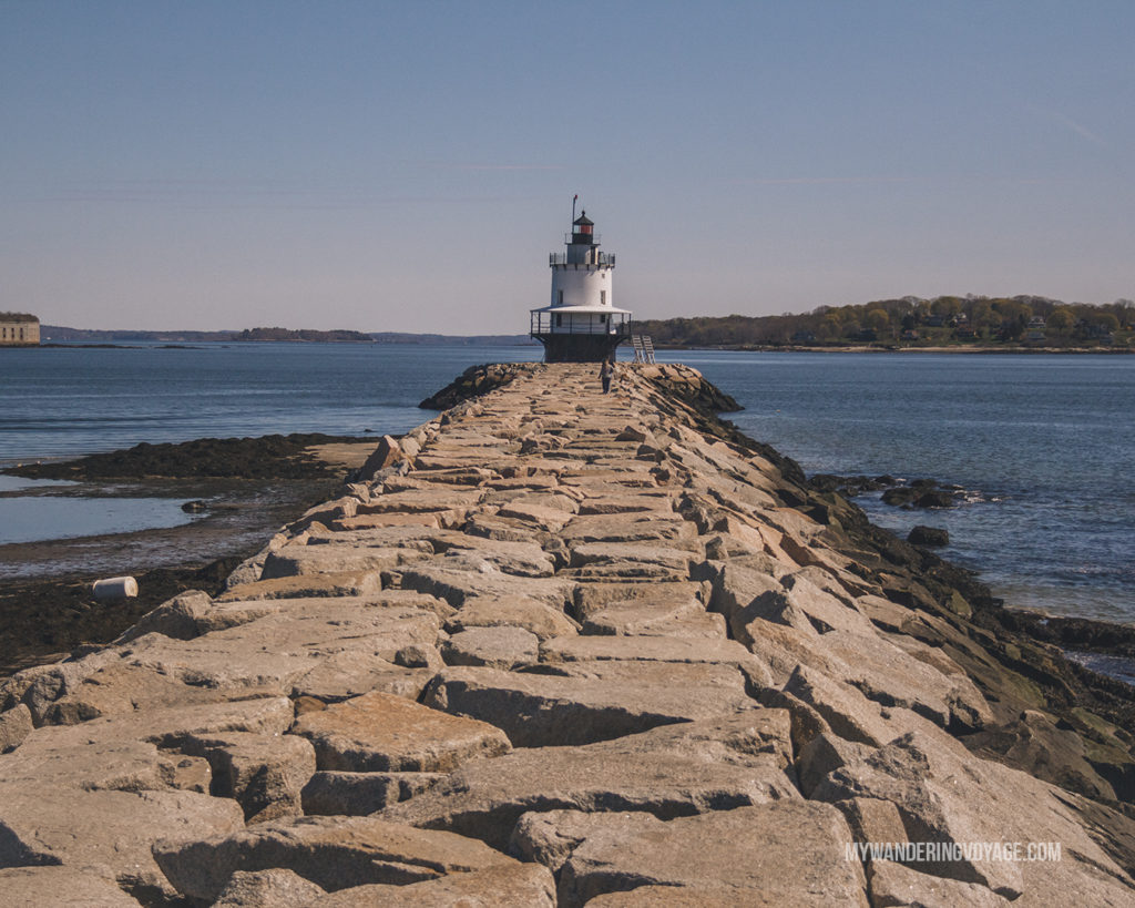 Spring Point Lighthouse, Portland   This New England road trip itinerary will take you on the scenic route from Boston to Portland, Mid Coast Maine and Acadia National Park.   My Wandering Voyage  #Boston #Portland #Maine #travel