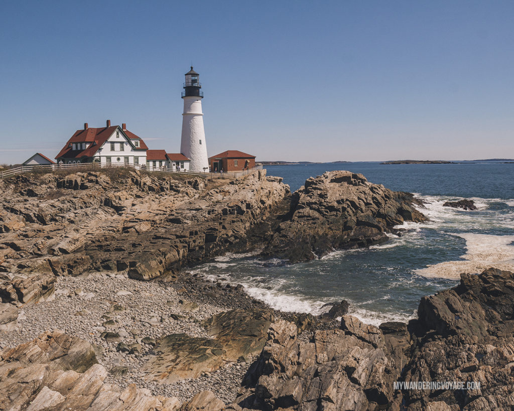 Portland Head Lighthouse   This New England road trip itinerary will take you on the scenic route from Boston to Portland, Mid Coast Maine and Acadia National Park.   My Wandering Voyage #Boston #Portland #Maine #travel