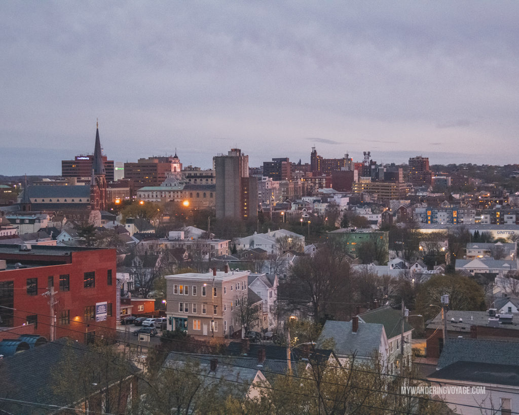 View of Portland from Munjoy Hill   This New England road trip itinerary will take you on the scenic route from Boston to Portland, Mid Coast Maine and Acadia National Park.   My Wandering Voyage  #Boston #Portland #Maine #travel