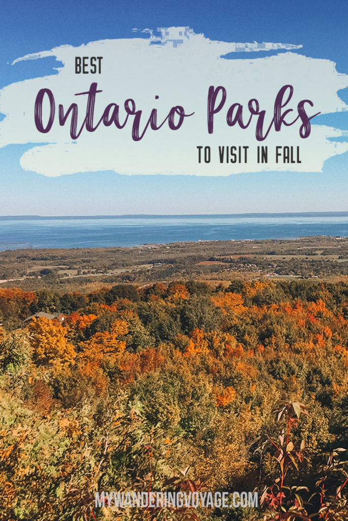 Go for an autumn road trip to see the best Ontario Provincial Parks to visit in the fall, including Algonquin, Killarney, Killbear provincial parks and more. Enjoy the crisp air and the vibrant shades of fall at Ontario Provincial Parks. | My Wandering Voyage travel blog #Ontario #Canada #Algonguin #Killarney #OntarioParks #travel #camping #roadtrips #autumn