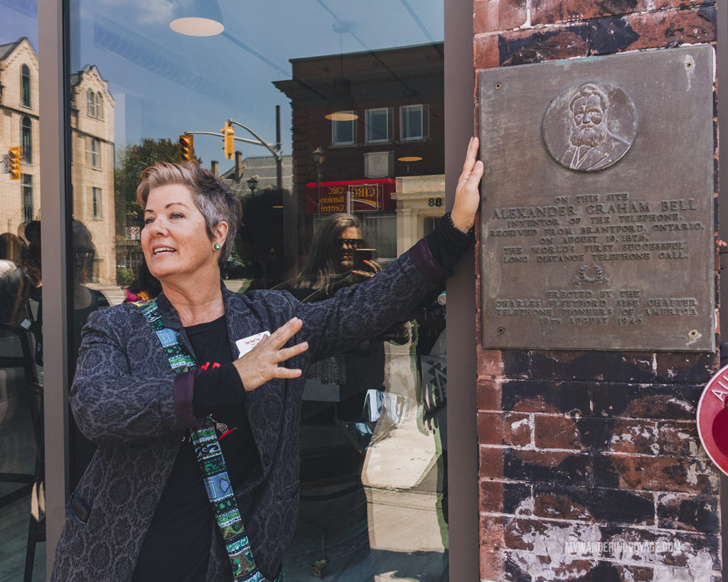 Spicy Jan with Alexander Graham Bell plaque in Paris, Ontario