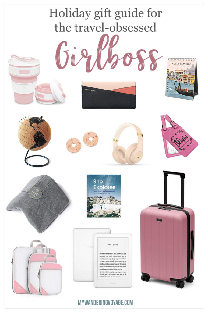 This ultimate guide of gifts for the travel-obsessed Girlboss is geared to help you figure out the perfect present for those who work full time and are dreaming of far off places. Travel gifts for the workplace. Travel gifts for the home. | My Wandering Voyage travel blog #giftguide #travel #girlboss