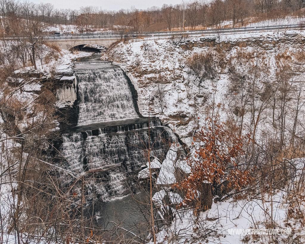 Winter waterfall in Hamilton