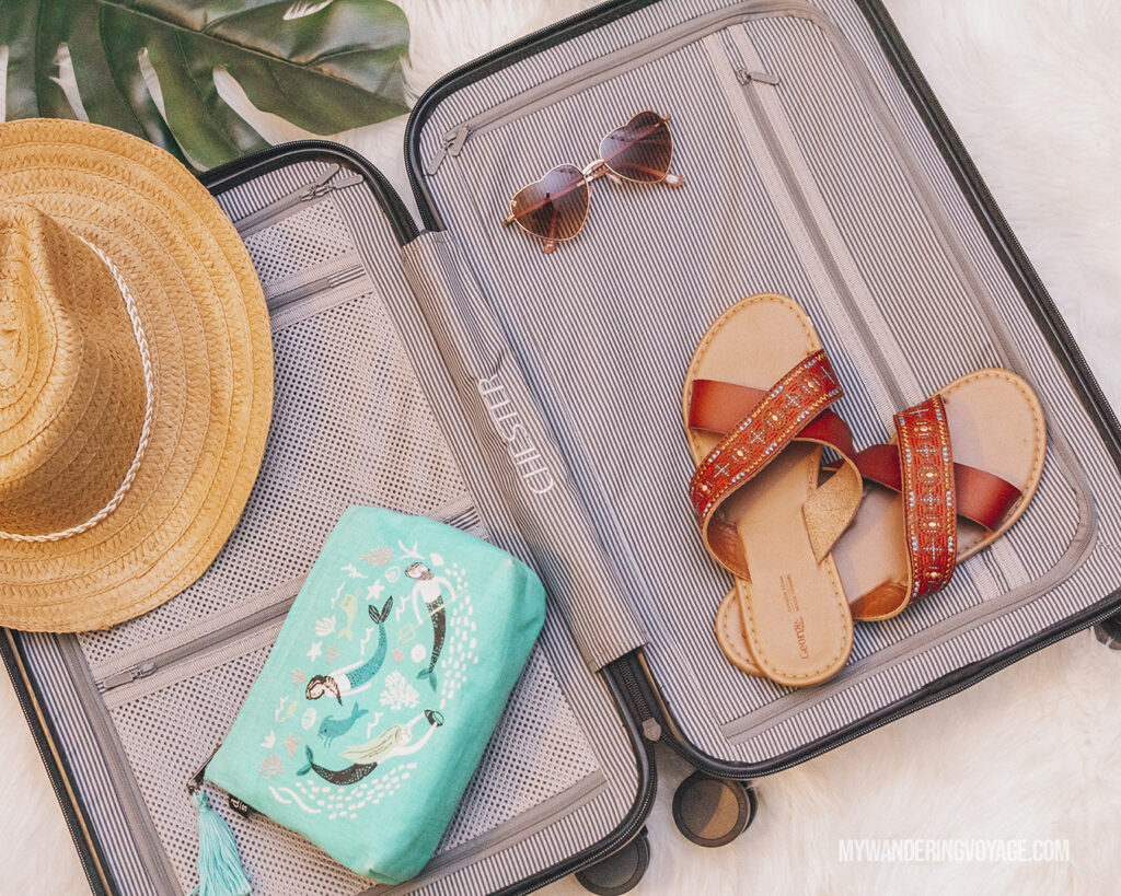 CHESTER suitcase flat lay with packing accessories | CHESTER luggage review for best carry on luggage | My Wandering Voyage Travel Blog