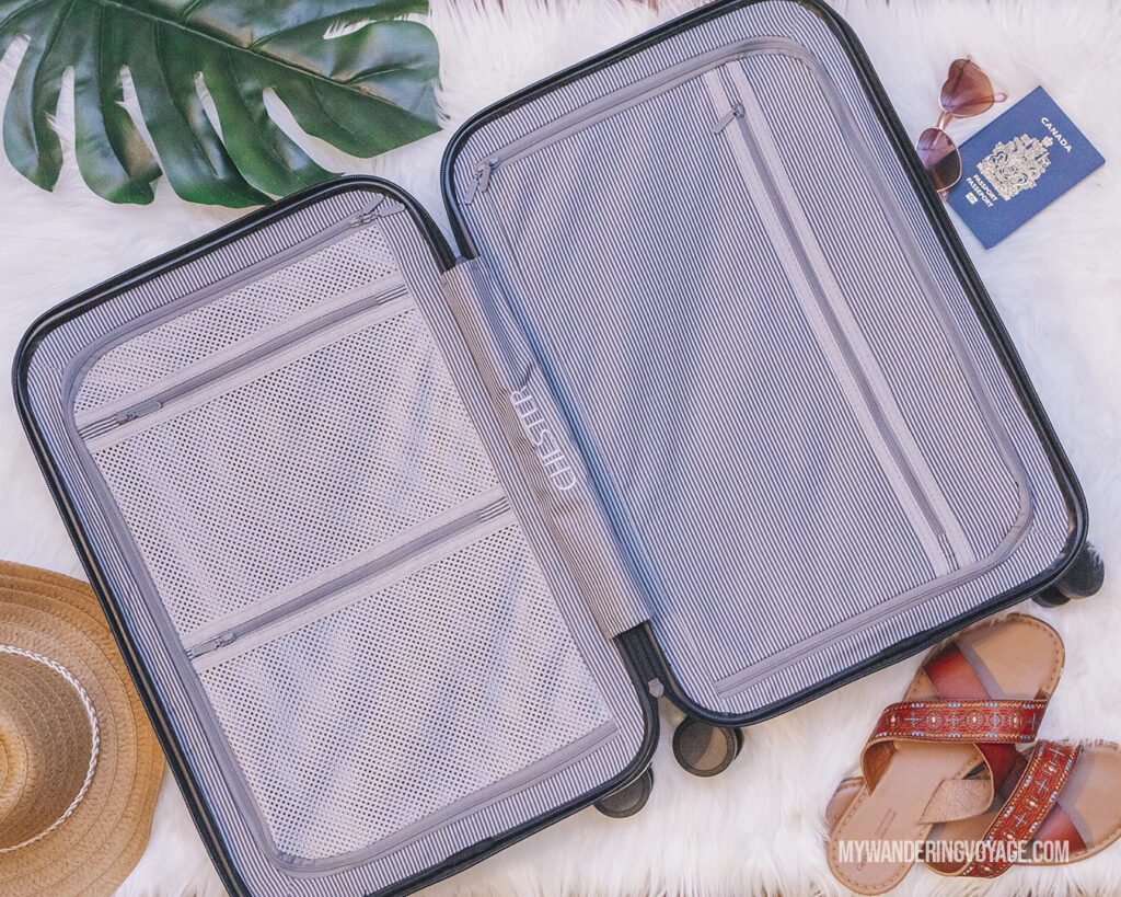 CHESTER suitcase flatlay | CHESTER luggage review for best carry on luggage | My Wandering Voyage Travel Blog