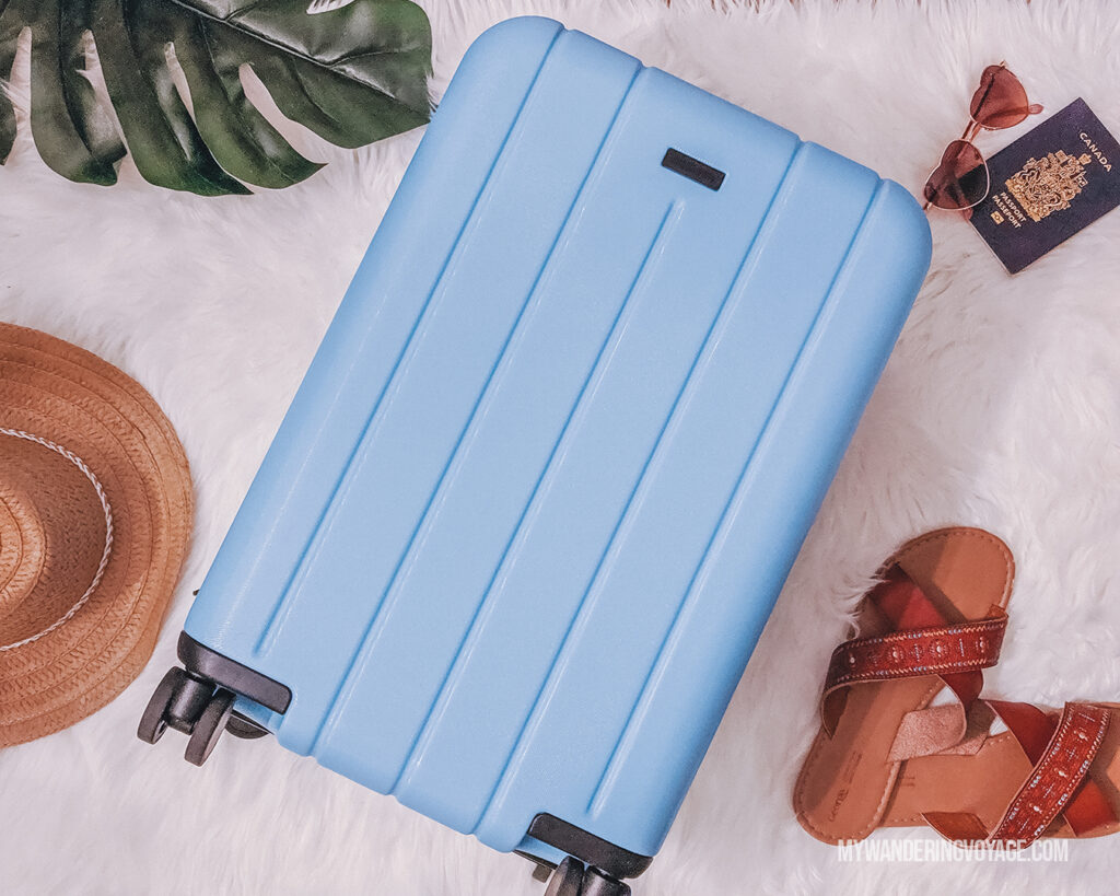 CHESTER hard shell flatlay | CHESTER luggage review for best carry on luggage | My Wandering Voyage Travel Blog