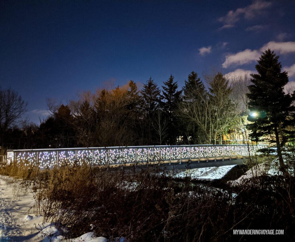 Nightstar bridge Richmond Hill at night | Best scenic bridges in Ontario
