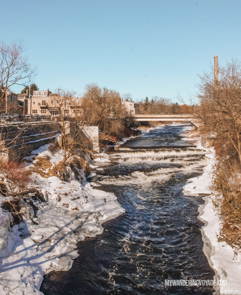 view from the pedestrian bridge in Fergus | Best scenic bridges in Ontario