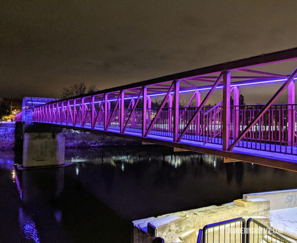 Cambridge pedestrian bridge at night | Best scenic bridges in Ontario