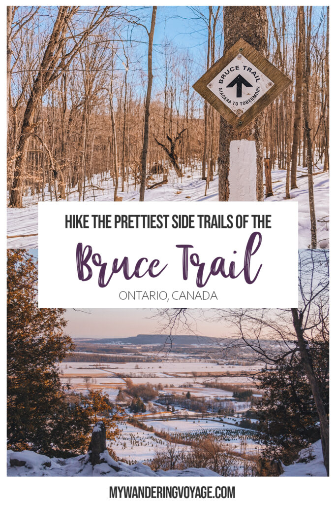 Looking to get outside for fresh air? Looking to start hiking the Bruce Trail and not sure where to start? These 14 side trails are the perfect way to explore the Bruce Trail. | My Wandering Voyage travel blog #BruceTrail #Hiking #Ontario #Canada