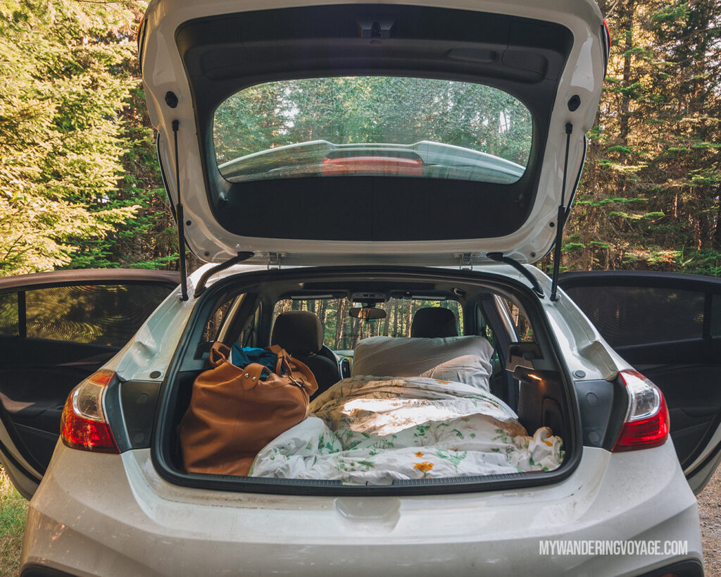 See? You can totally sleep in your hatchback! | Road trip tips: What you need to know about taking a cross-country road trip | My Wandering Voyage travel blog #Travel #RoadTrip #Canada #USA