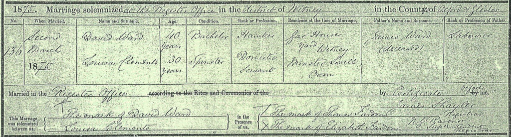 David Ward Jane Clements marriage 2 Mar 1875 Witney Oxfordshire thumbnail