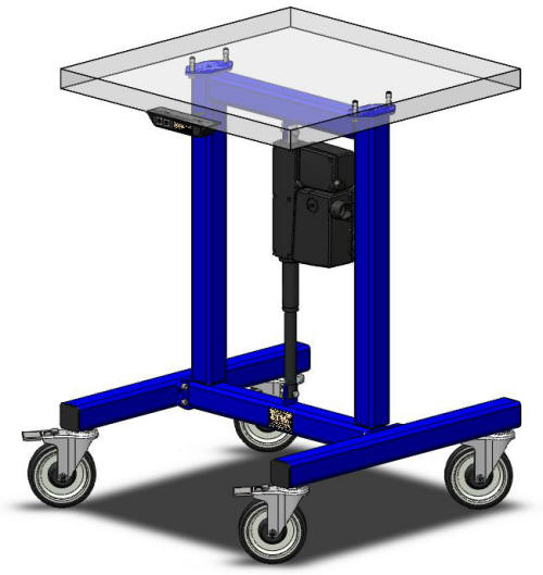 Height adjustable industrial machine base by LTW Ergonomic Solutions