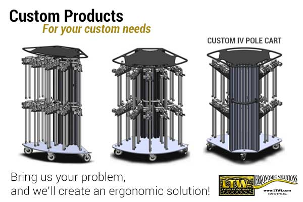 IV Pole Cart - Custom Material Handling Industrial Carts by LTW Ergonomic Solutions