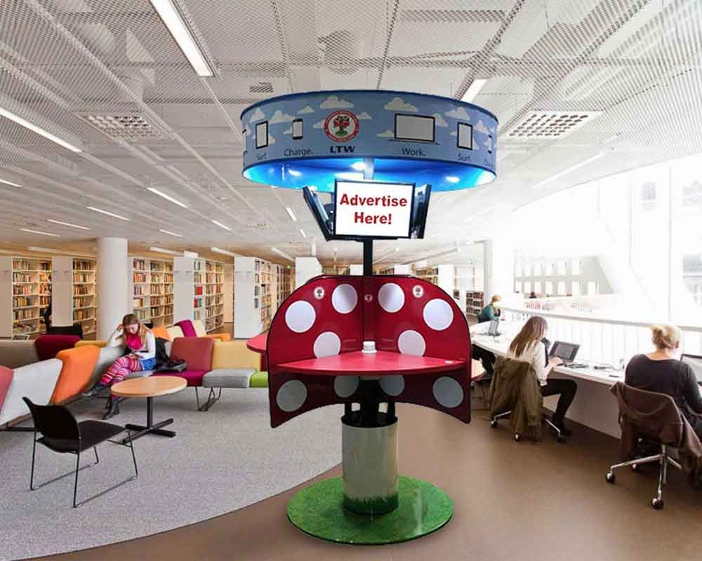 Public Standing Table in Library MPublic LTW Ergonomic Solutions