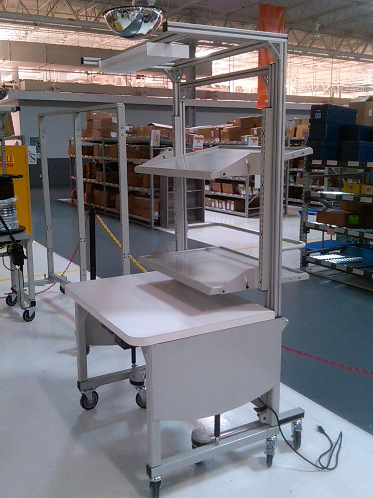 RCT-WS Height adjustable workstation with removable trolley for kitting assembly - LTW Ergonomic Solutions