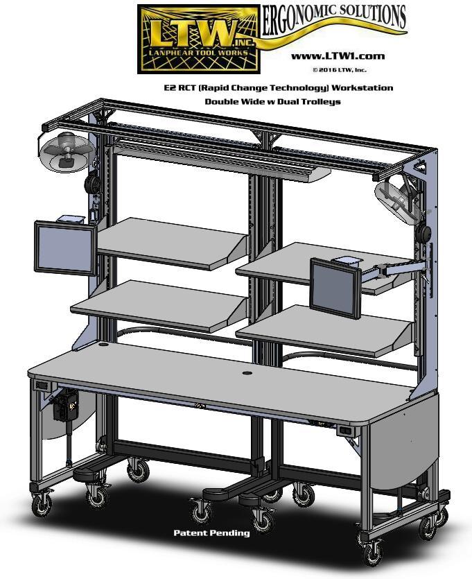 LTW Ergonomic Solutions GEN IIII E2 Workstation w Trolleys-Patent Pending