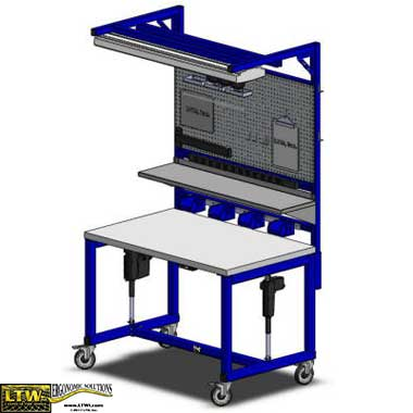 height adjustable auto repair and service workstation