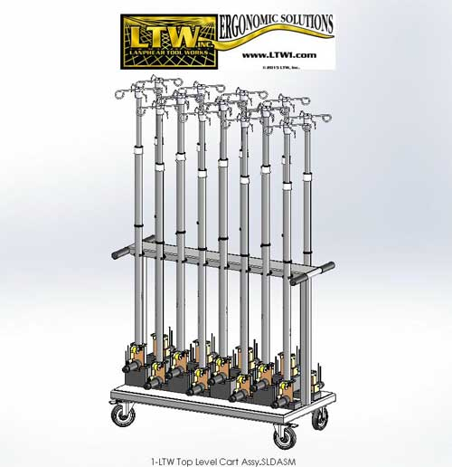 IV Pole Cart for storing and moving IV Poles by LTW Ergonomic Solutions