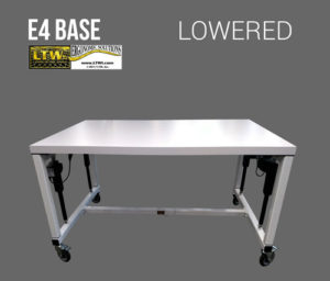 Lowered height adjustable machine base - E4 Base - LTW Ergonomic Solutions