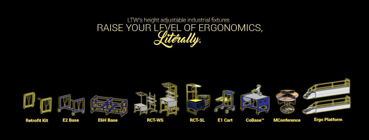 Height adjustable machine bases, workstations, tables, carts, operator platforms - LTW Ergonomic Solutions