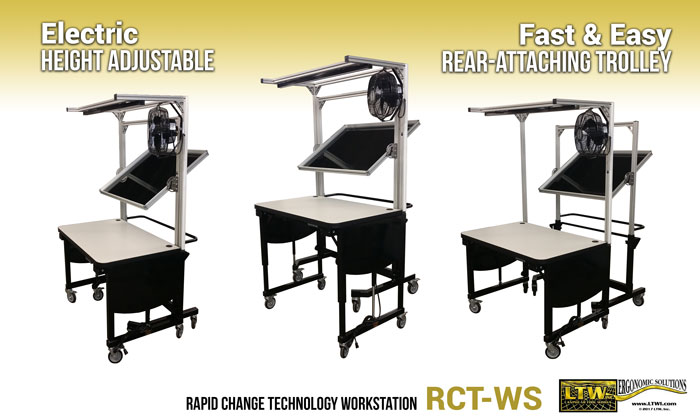 Height adjustable RCT-WS Workstation with Removable Trolley - LTW Ergonomic Solutions