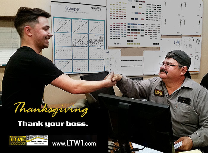 LTW Ergo Solutions Thanksgiving 2018 Thank your Boss