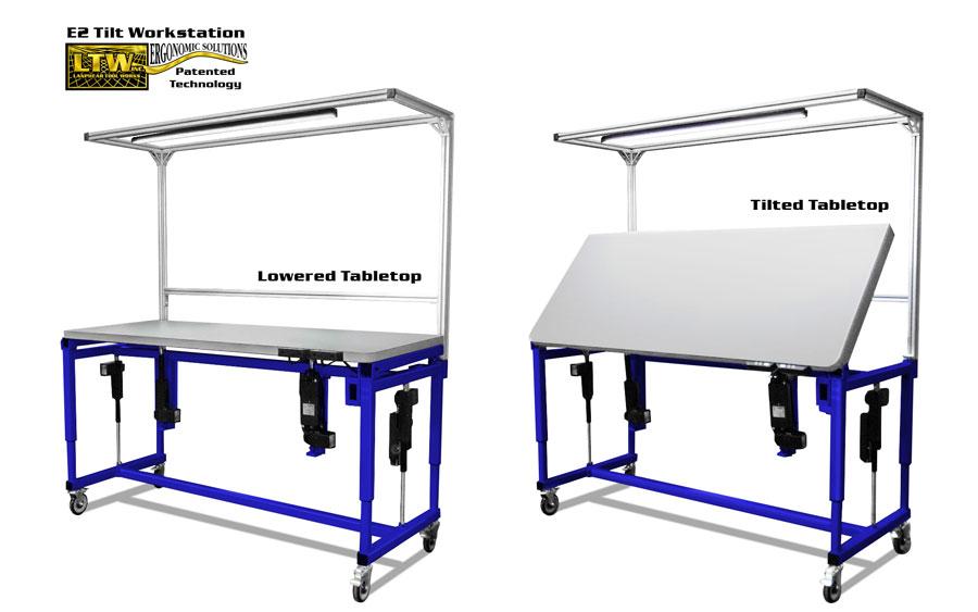 Adjustable Tilt Table Lowered - Ergonomic Height Adjustable Tilting Workstation by LTW Ergonomic Solutions