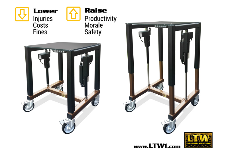 E2 Industrial Height Adjustable Table - Industrial Ergonomics by LTW Ergonomic Solutions