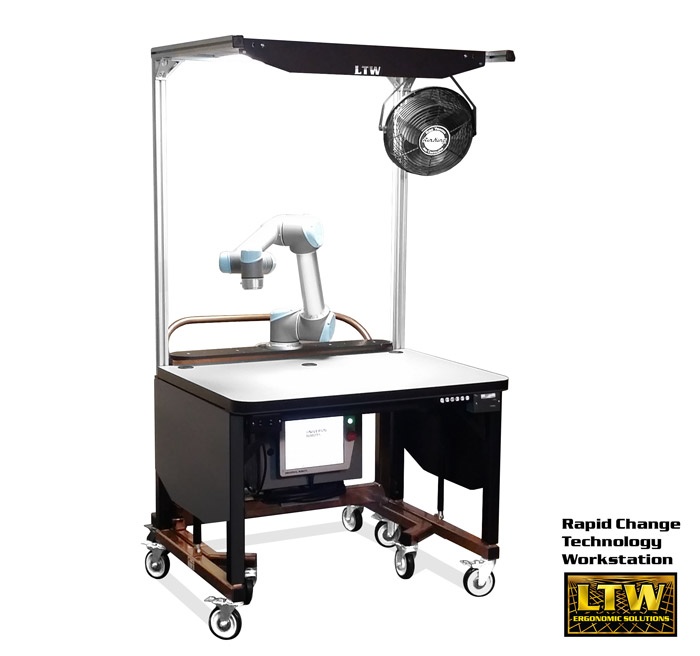 RCT Workstation with Universal Robots   Height Adjustable Workstation for Kitting by LTW Ergonomic Solutions