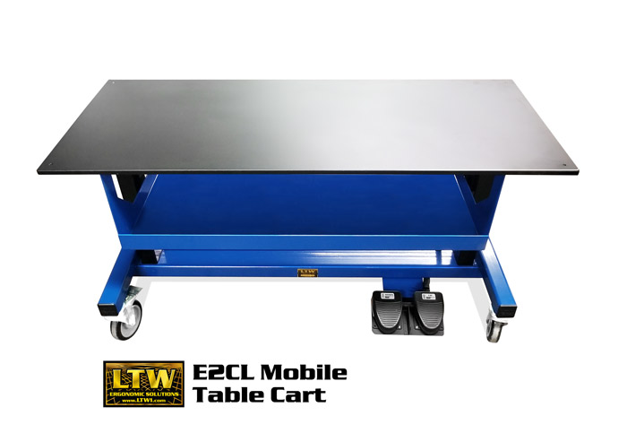 E2CL Mobile Table Cart | Portable Height Adjustable Table by LTW Ergonomic Solutions
