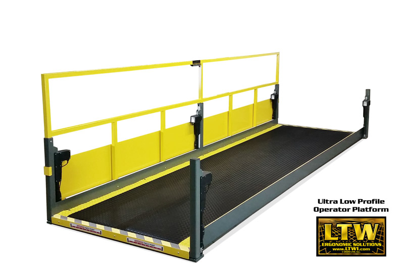 "Industrially Height Adjustable Operator Platform Lift with 2"" Lowered Height and Edge Sensors by LTW Ergonomic Solutions"