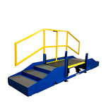 Industrially Height Adjustable Operator Platform with Self-Adjusting Staircase by LTW Ergonomic Solutions