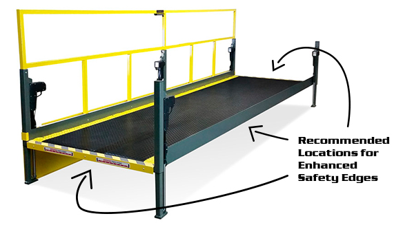 """Industrially Height Adjustable Operator Platform with 2"""" Lowered Height and Edge Sensors by LTW Ergonomic Solutions"""