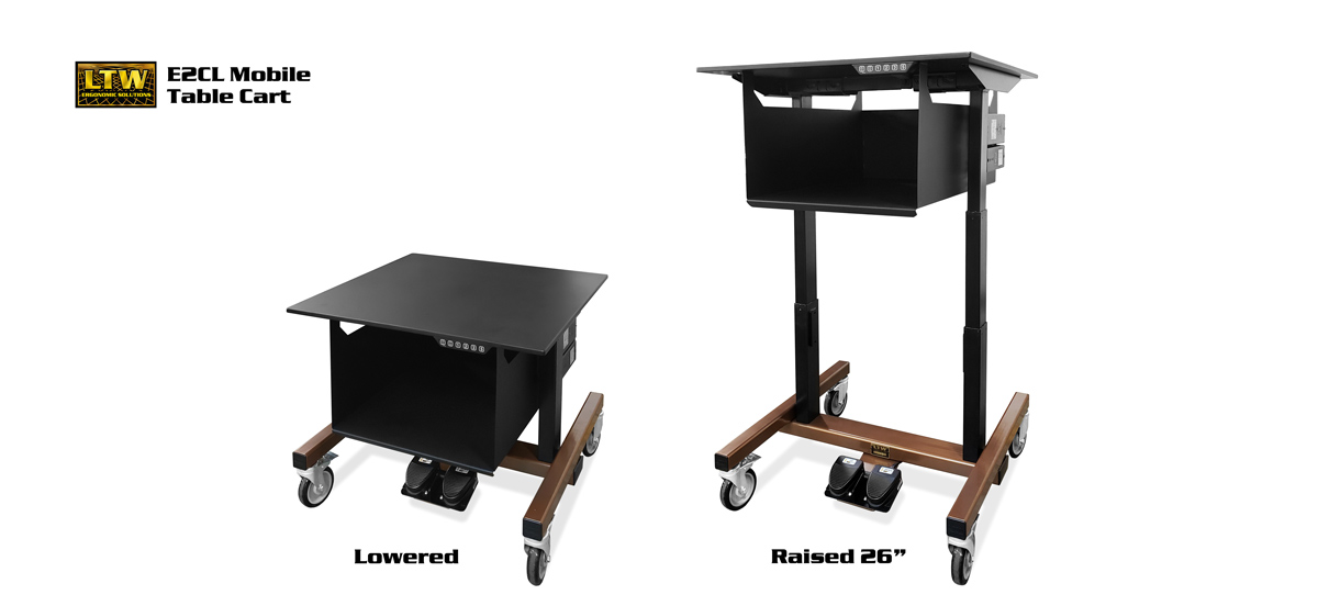 E2CL 26inch Height Adjustable Mobile Table Cart by LTW Ergonomic Solutions
