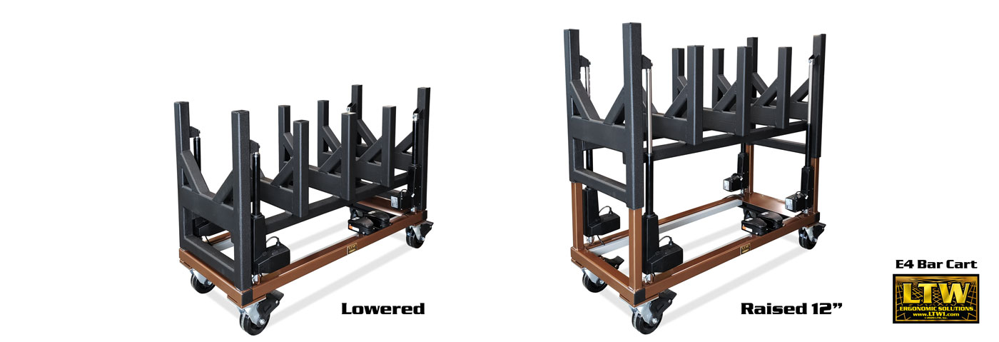 LTW E4 Bar Cart - Height Adjustable Industrial Cart for Heavy Bars - LTW Ergonomic Solutions