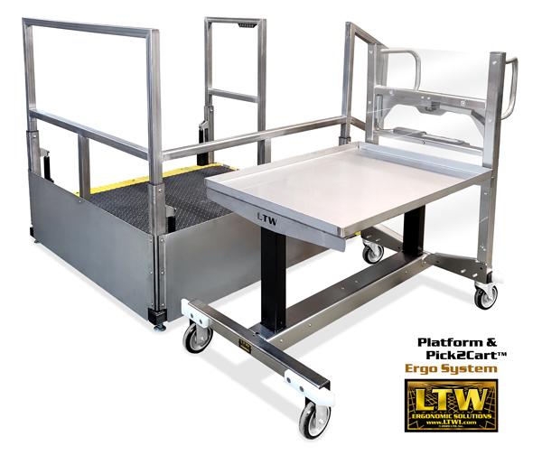 LTW Platform and Pick2Cart Ergo System by LTW Ergonomic Solutions   Height Adjustable Industrially Ergonomic Platform and Cart for CNC