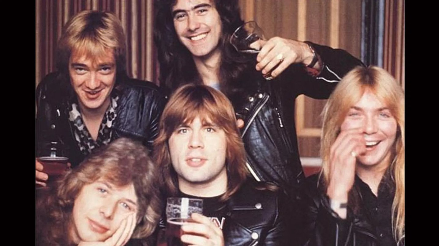 Iron Maiden with Clive Burr (bottom left)
