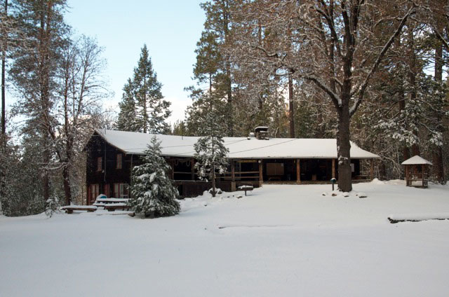 Gold Hollow lodge in winter