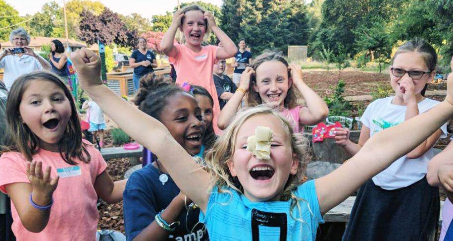 girls having fun at camp