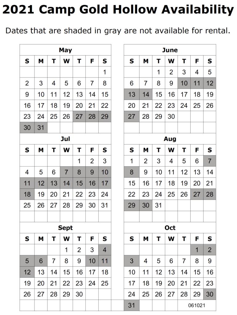 camp rental calendar