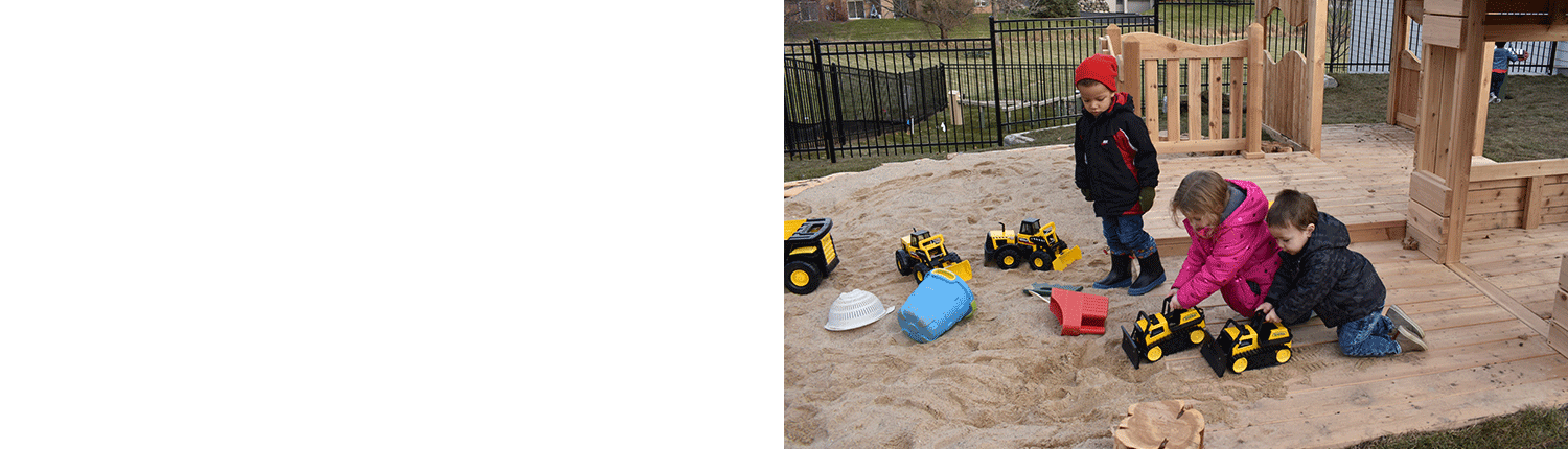 Photo of kids playing on the deck and in the sandbox at Bright Child Learning Center in Madison WI (53719)