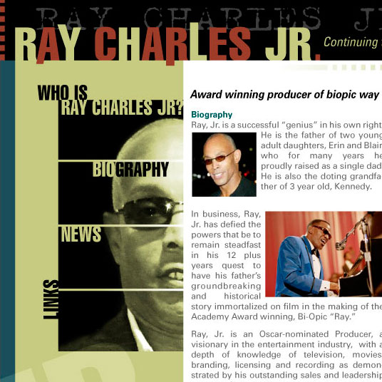 Website Concept – Ray Charles Jr.