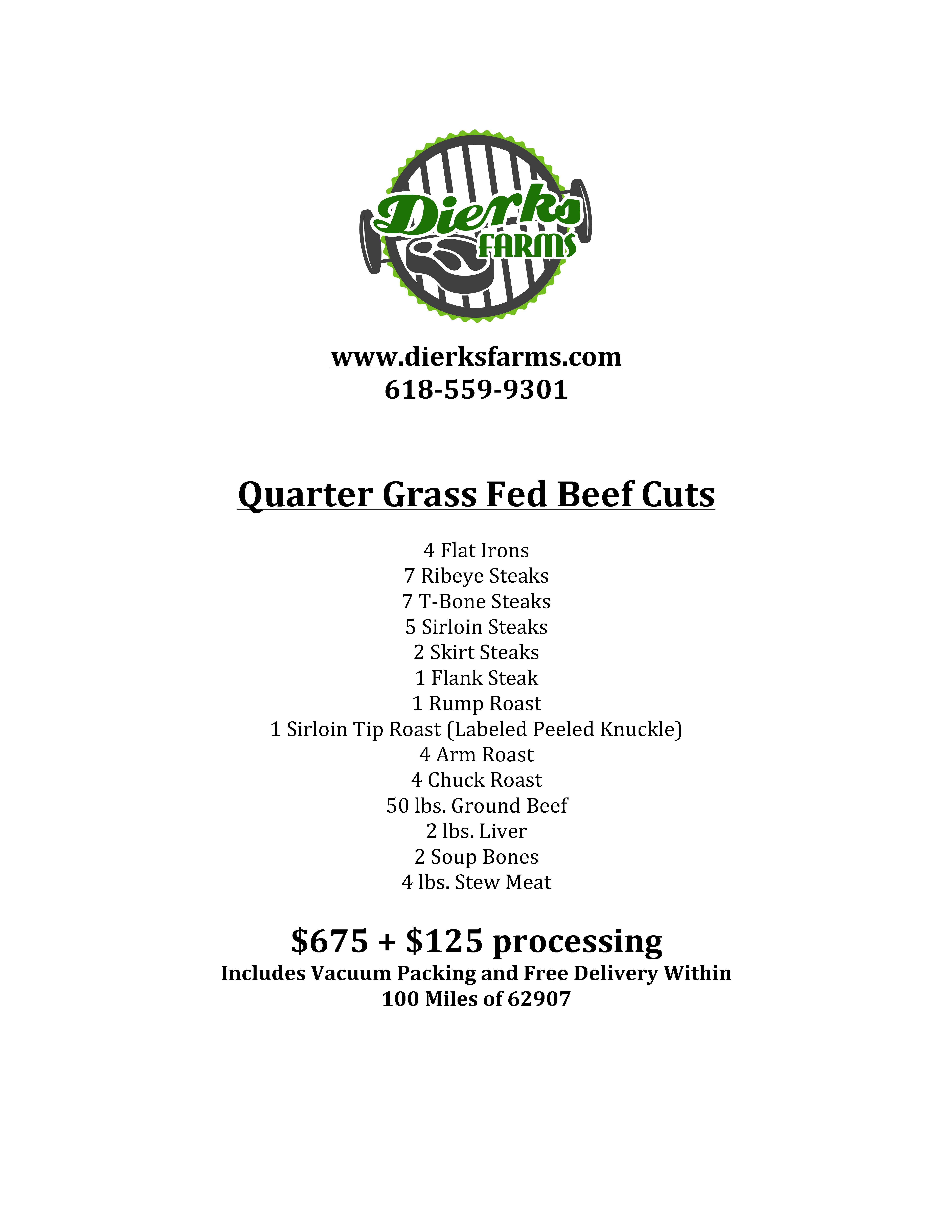 Dierks Farms Grass Fed Beef Quarter Cuts