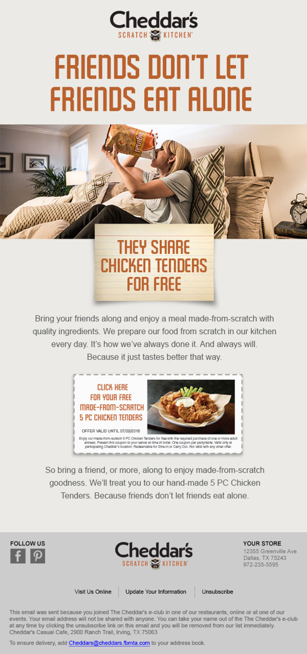 Cheddar's kitchen email ad